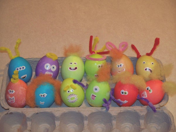Decorated Easter Eggs with funny eyes and hair